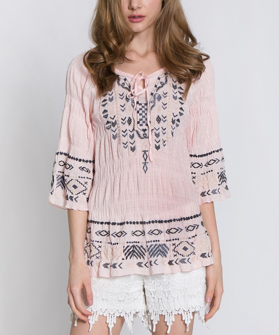 Another great find on #zulily! Light Peach Geometric Embroidered Peasant Top by MONORENO by Mür #zulilyfinds