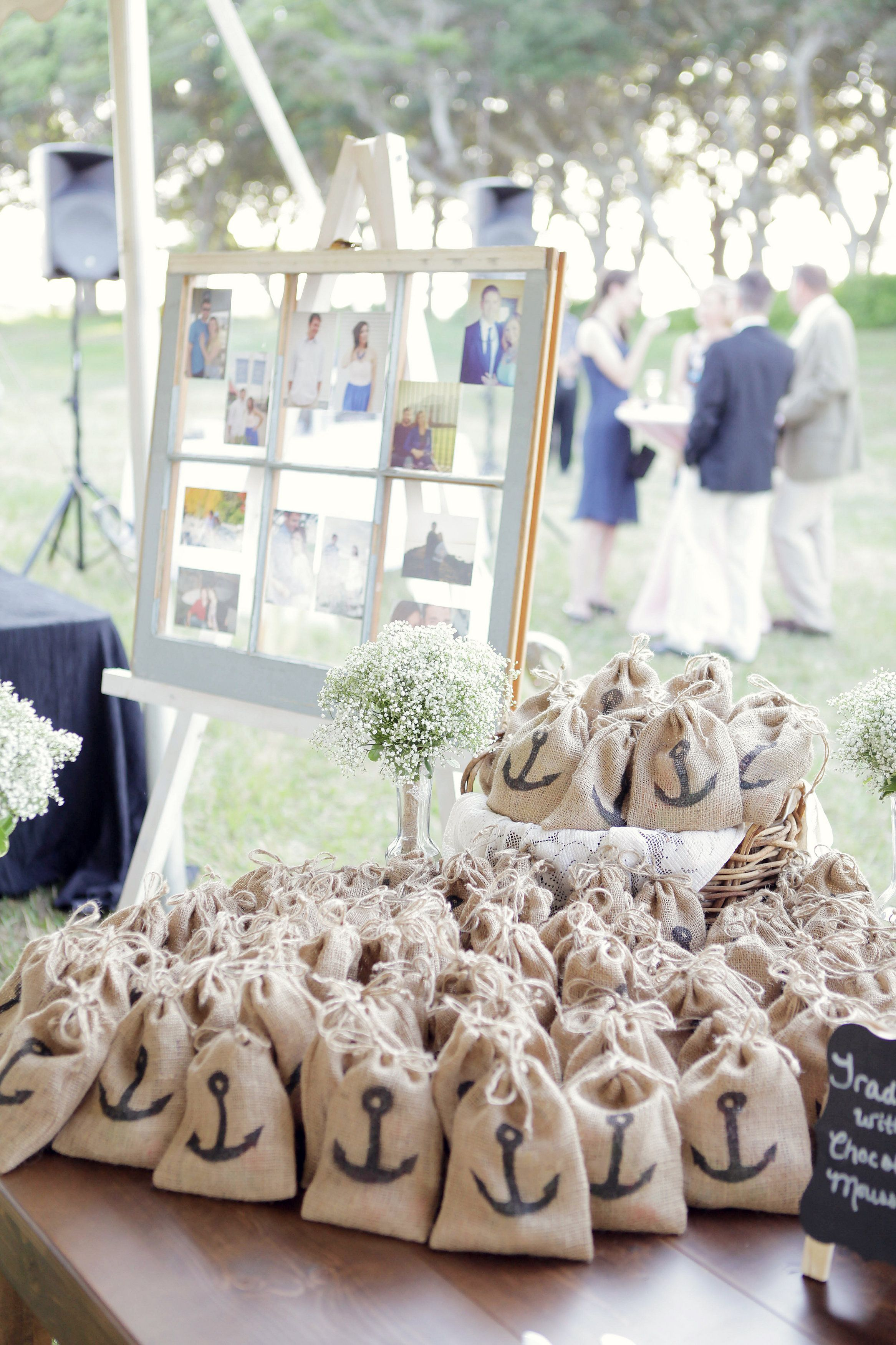 Wedding gift favors: salt water taffy in burlap bags with a black ...