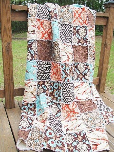 King Rag Quilt Aviary 2 In Bark Brown Aqua Orange Birds All Natural Fresh Modern Handmade Size Bedding