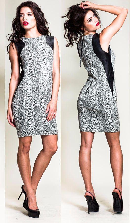 Nicole Bakti Leather Shoulder Pad Dress