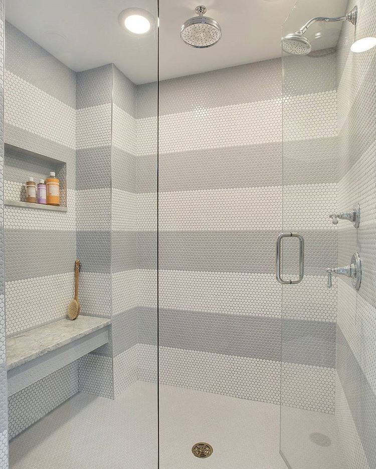 Affordable and #Beautiful shower #tile option! White and grey penny ...