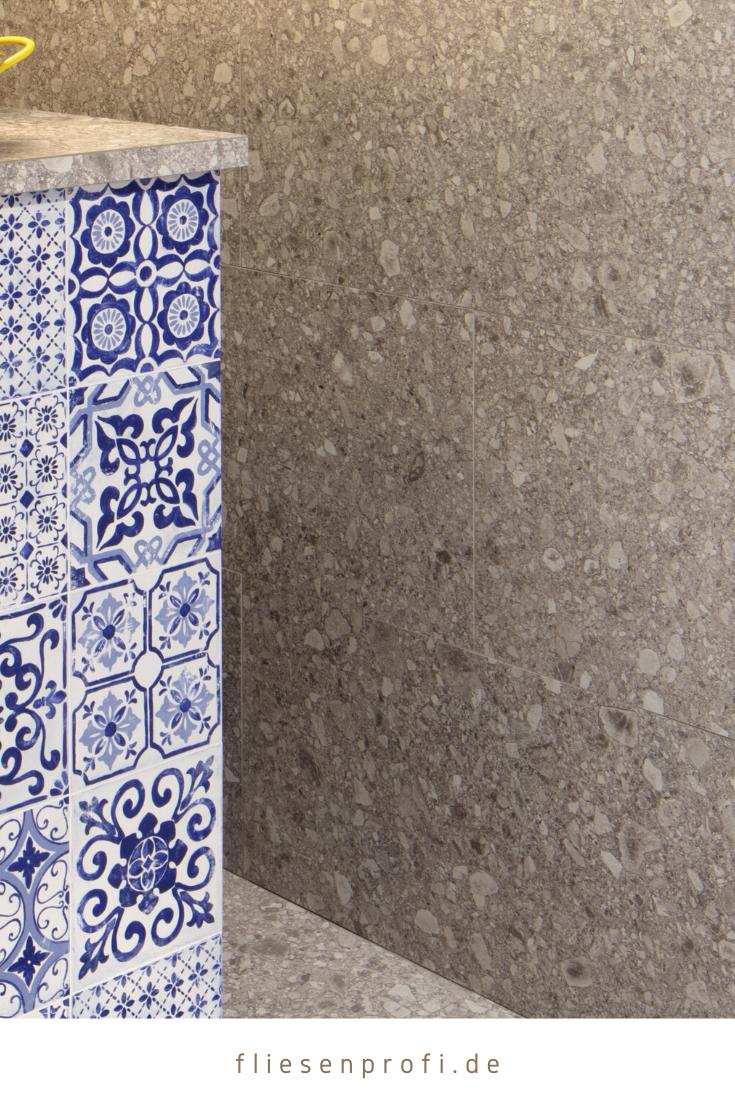 Fliese Terrazzo Stein Optik grau matt Retro mediterran