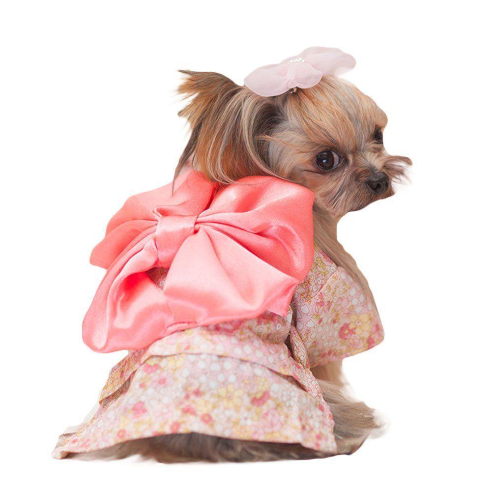 Topbeu Cute Floral Japanese Kimono Style Pet Dog Cat Costume Dress