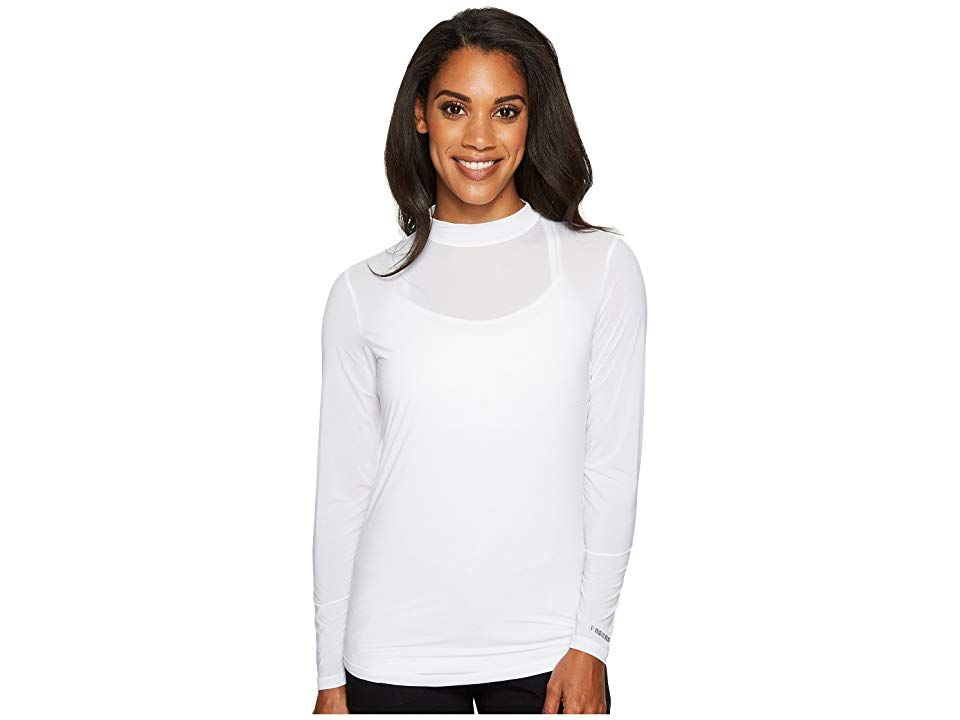Jamie Sadock Sunsenser Mandarin Collar Layering Shirt Sugar Womens Clothing Dont let the sun be the hottest thing on the golf course Sunsense ultralightweight stretch fab...