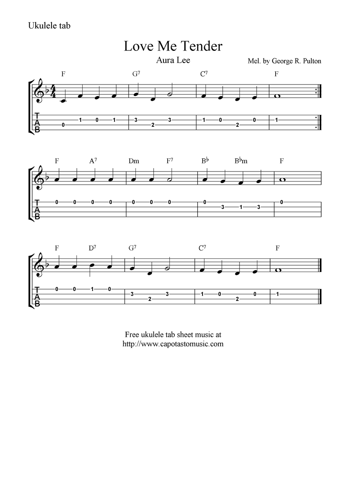 Love Me Tender Aura Lee Ukulele Sheet Music Free Printable