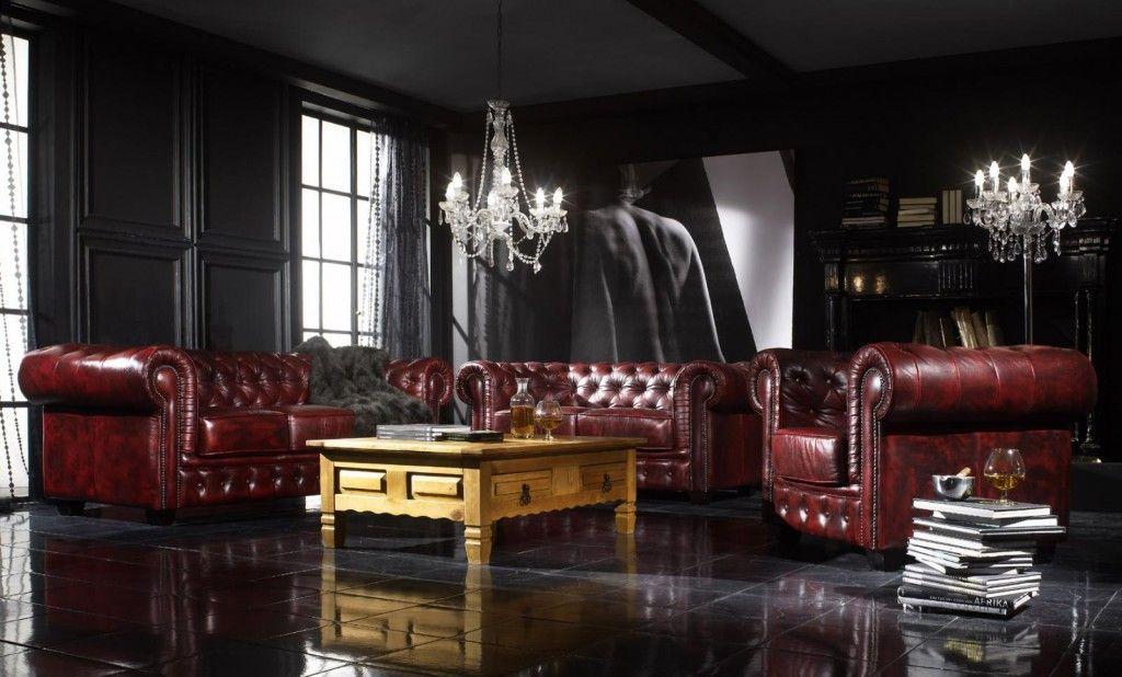 Sofagarnitur Chesterfield #Echtleder #rot Wohnzimmer Pinterest - wohnzimmer braun rot