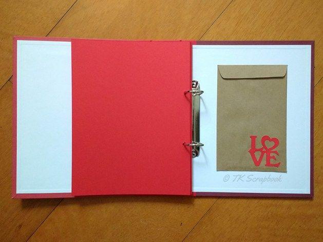 Álbum de fotos em scrapbook (páginas coloridas e bolso interno para ...
