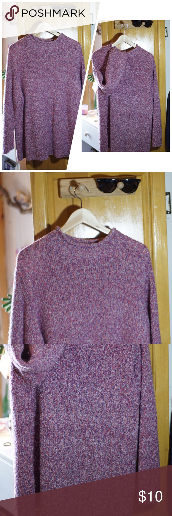 Purple sweater size L Purple sweater this is perfect for fall and winter ❄️ is used it with some leggings and it's amazingly cozy through the chili months. USED GOOD CONDITION No TRADES  SIZE L Unknown Sweaters Crew & Scoop Necks