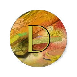 Gold in Abstract Classic Round Sticker. Change the letter to your own initial. Cool gifts with many uses.