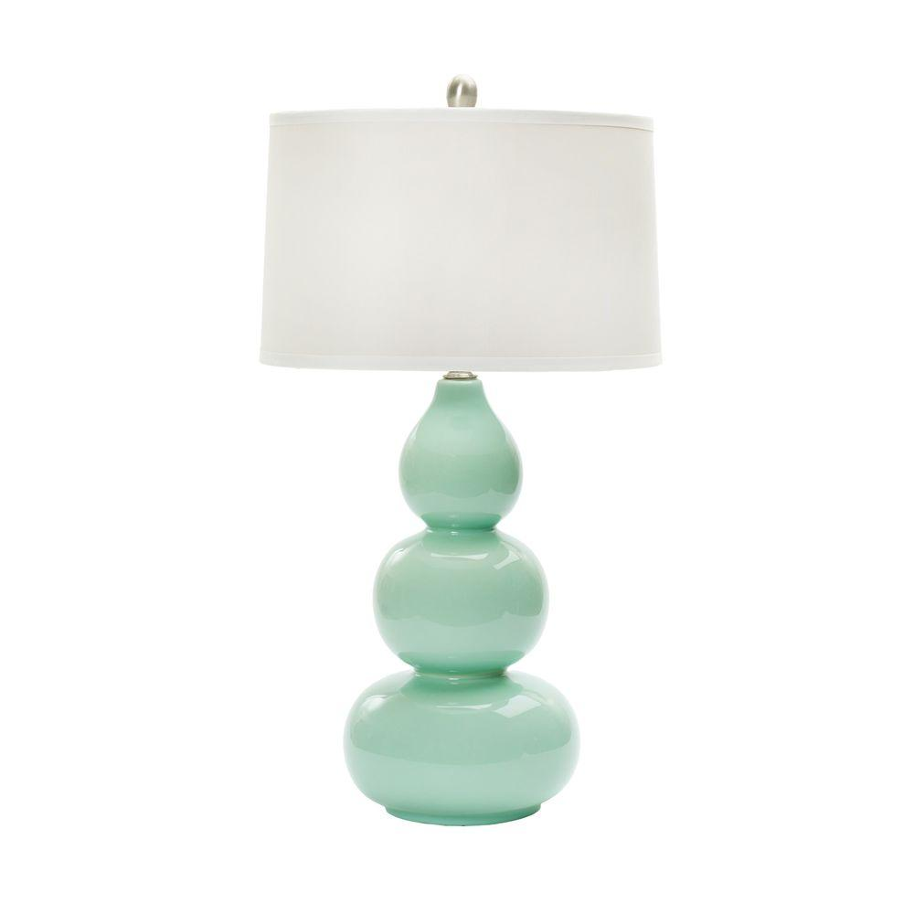 28 In Mint Green Ceramic Table Lamp W Mr8908mint Green The Home Depot Ceramic Table Lamps Table Lamp Ceramic Table