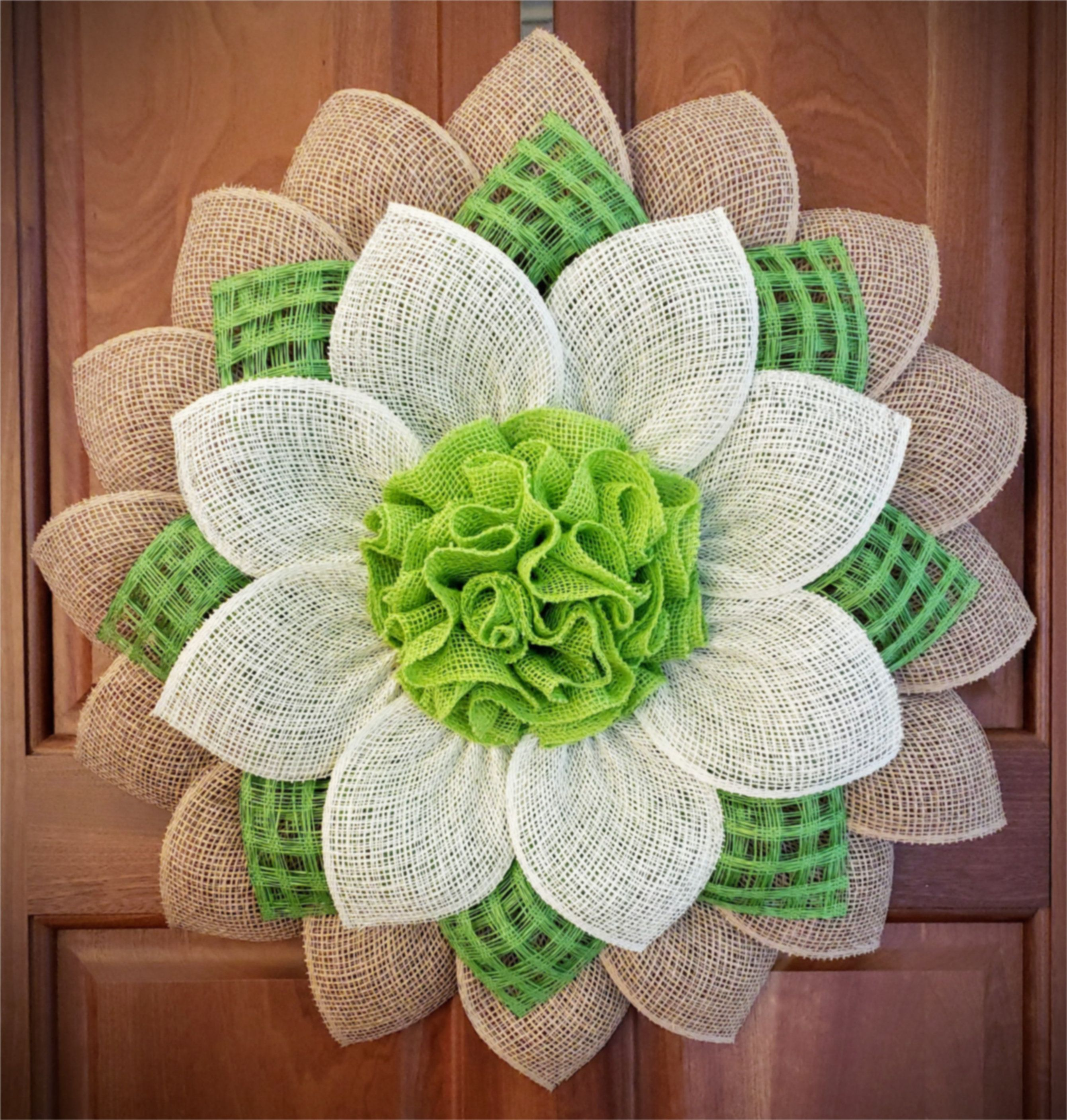 Photo of Large natural, green and cream-colored poly burlap / burlap flower wreath (UITC flower frame)