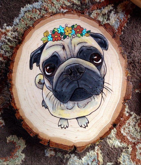 Pug pug art pug painting dawn pug art pug wall art by ThePastelPug