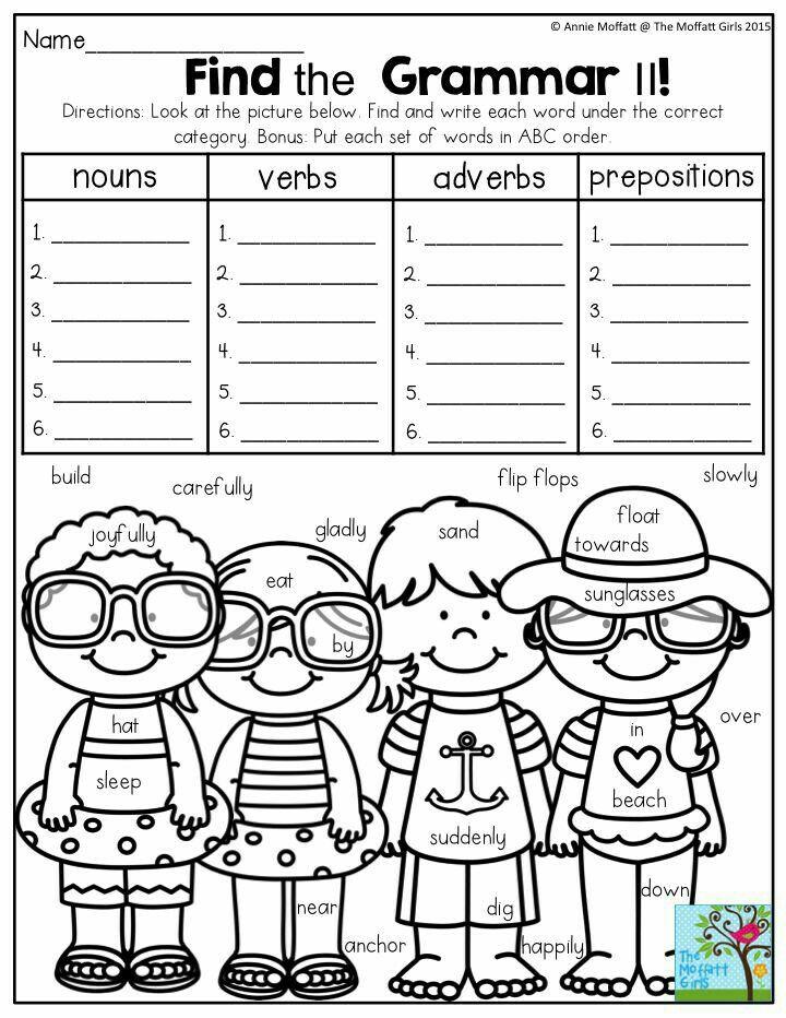 Find the Grammar Such a FUN way to practice parts of speech in