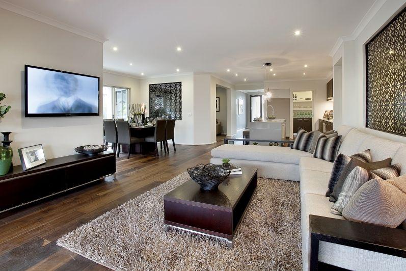 Best Colour Scheme Dark Floors Brown Rug Ivory Beige Couch 400 x 300