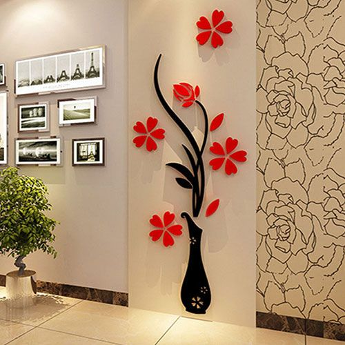Room 3D Plum Vase Wall Stickers Home Decor Creative Decals Living Entrance Painting