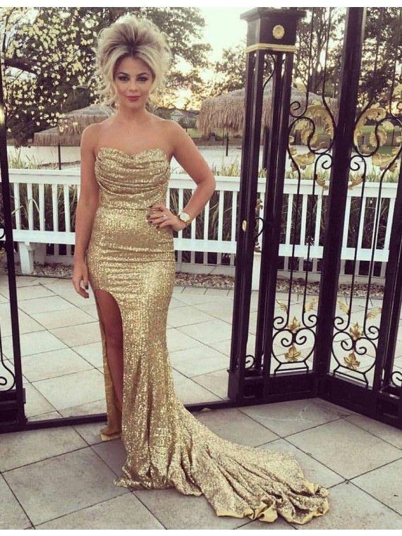 c54a086b Glamorous Sweetheart Split Sweep Train Gold Sequined Sheath Prom ...