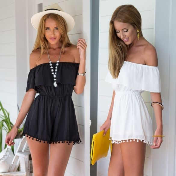 08e881883a2f Stylish Lady Women s Fashion Casual Chiffon Off-shoulder Short Sleeve High Waist  Short Jumpsuit Overall