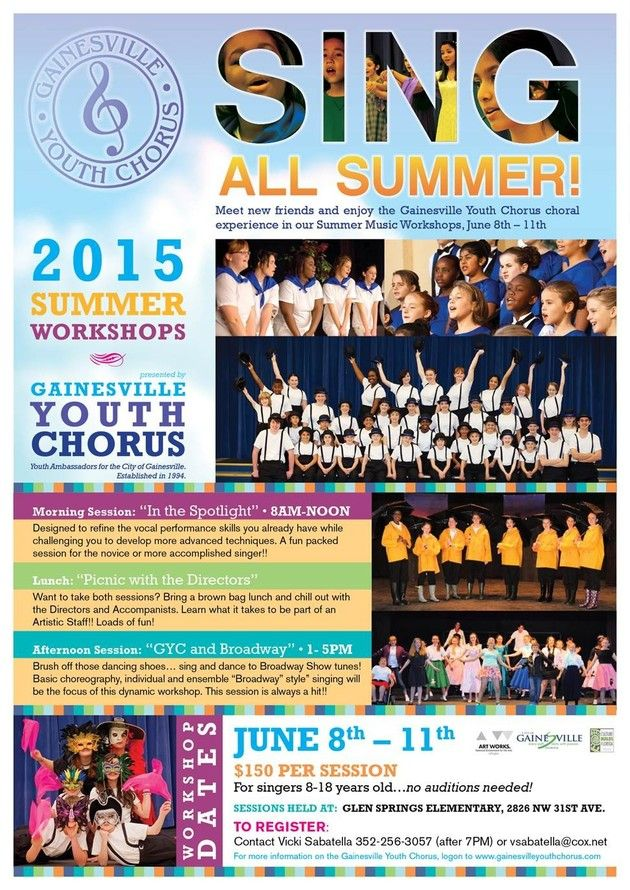 age 8+ Summer Workshops - Gainesville Youth Chorus   H A M