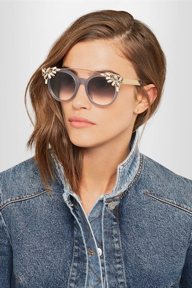 772cbdeb72fd JIMMY CHOO Fancy Vivy/S embellished round-frame acetate and gold-tone  sunglasses