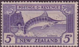 New Zealand 1935 SG 563 Striped Marlin Fine Mint Scott 192 Other New Zealand Stamps HERE