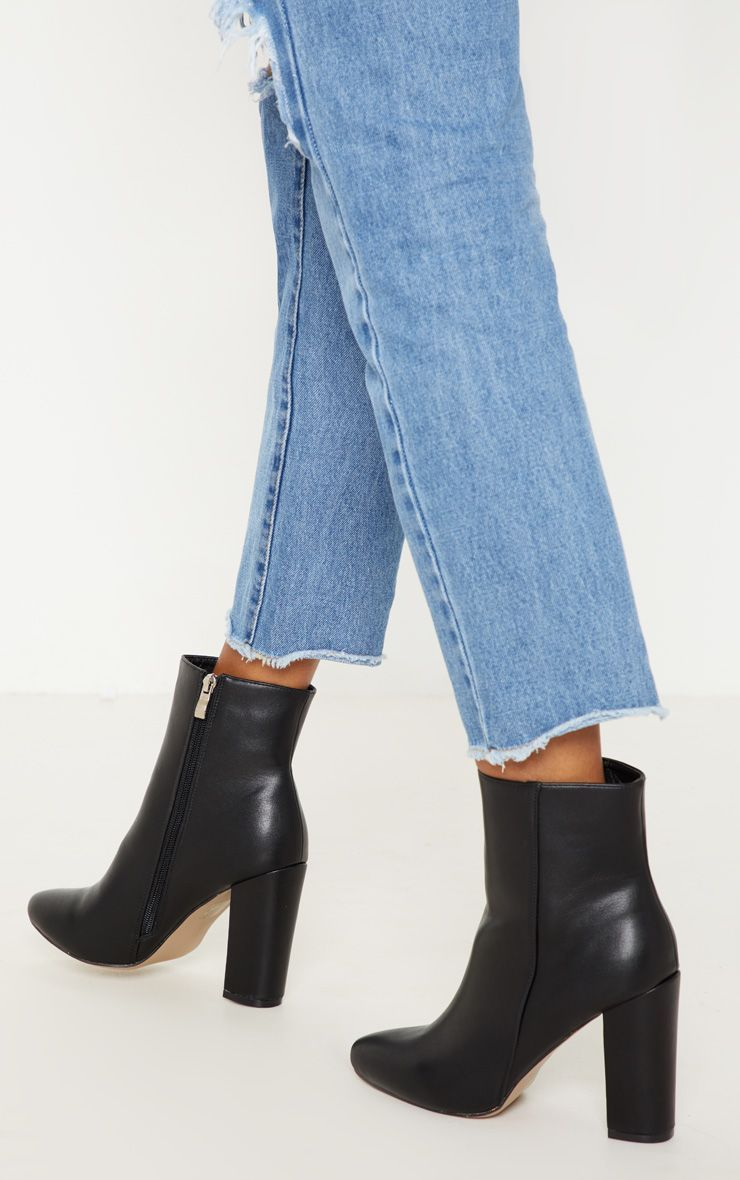 Behati Black Faux Leather Ankle Boot | Girls ankle boots
