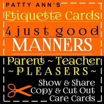Communication Skills Etiquette Cards 4 Good Manners \u003e Copy, Cut Out