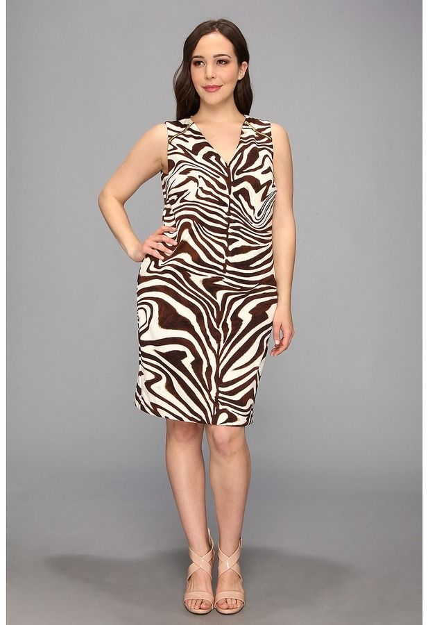 56d1de1b9203 MICHAEL Michael Kors Size Sleeveless Marbled Zebra Print Raglan Zip Dress  on shopstyle.com