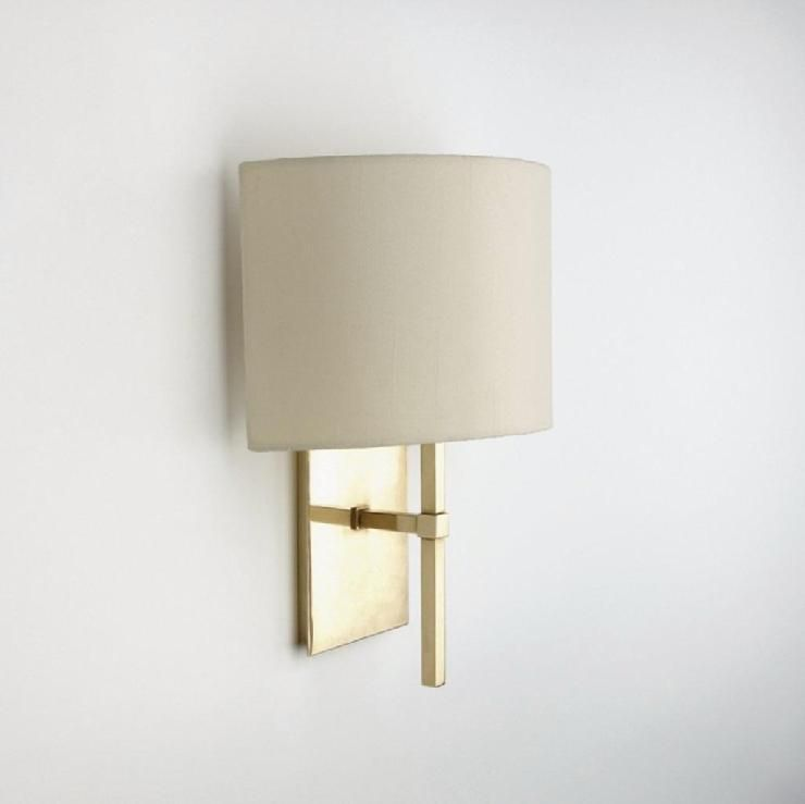 Wall mounted single arm sconce with fabric half shade products wall mounted single arm sconce with fabric half shade products waterworks mozeypictures Choice Image