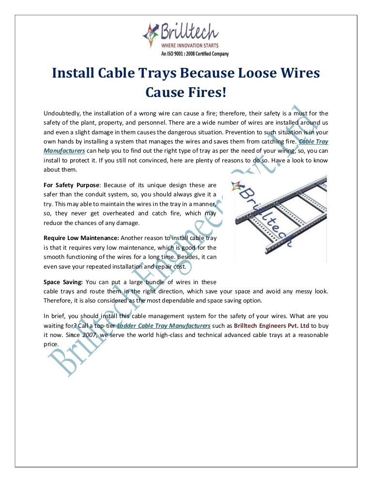 Install Cable Trays Because Loose Wires Cause Fires!   Cable Tray ...