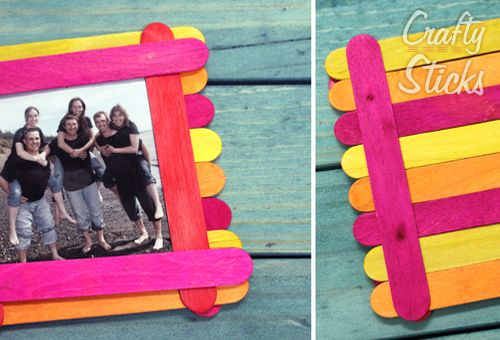 Popsicle Stick Picture Frame Ideas from CraftySticks.com http://www ...
