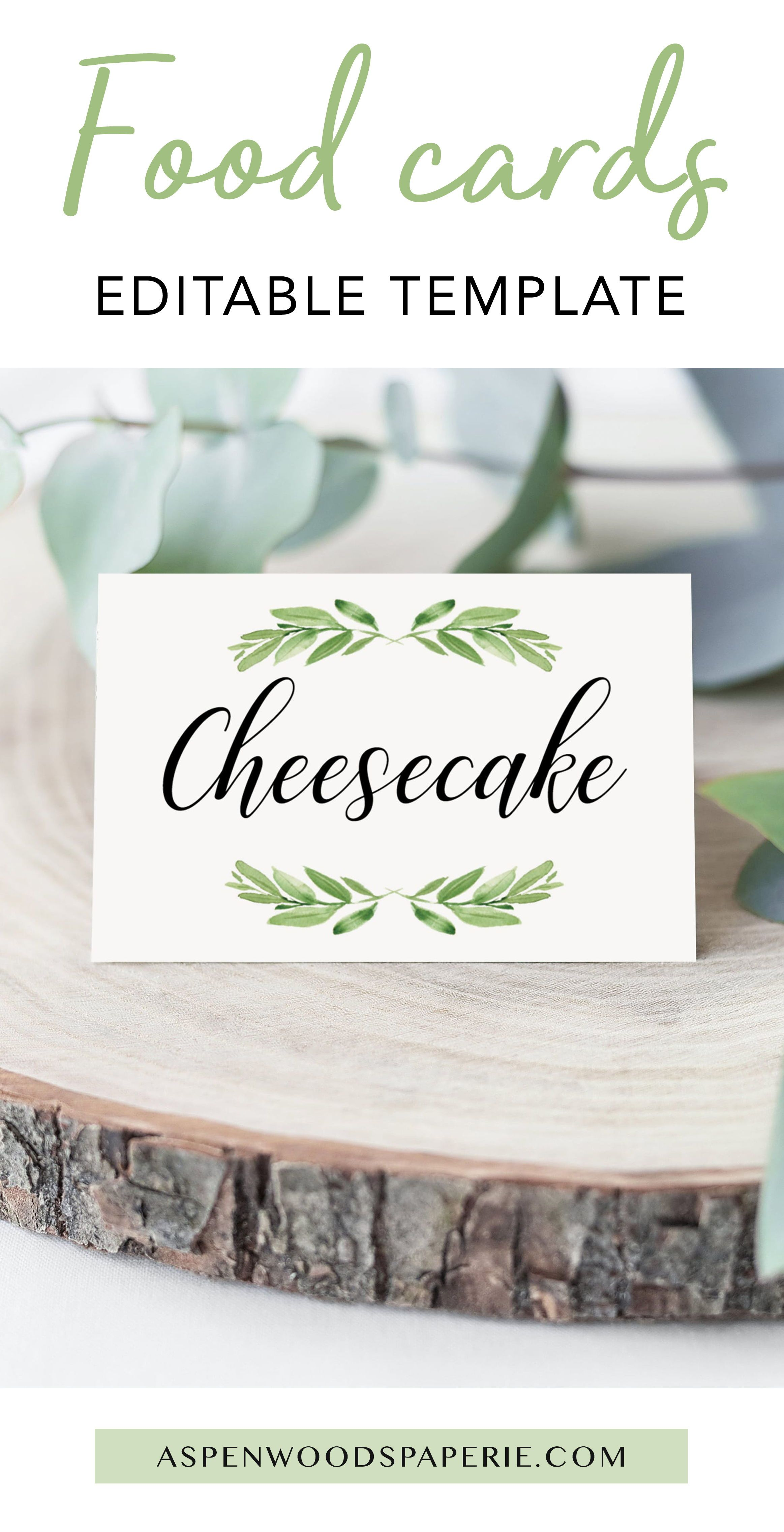 Decorate Your Buffet Table With These Greenery Food Cards Templates The Editable Food Cards Are Perfect To Labe Food Labels Printable Recipe Cards Food Labels