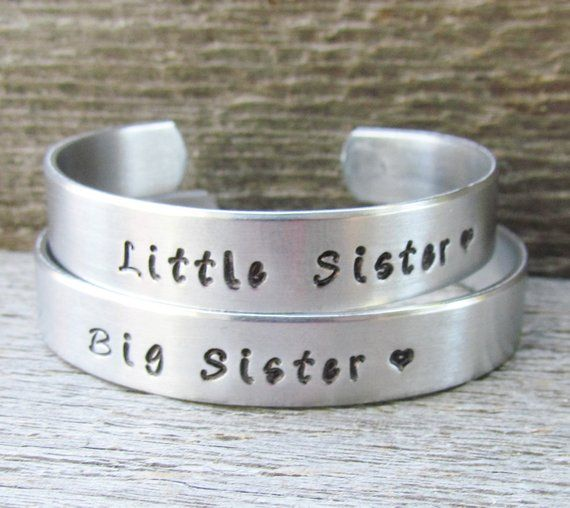 6ae82b61f85 SET of 3 Bracelets BIG SISTER Middle Sister Little Sister Hand Stamped Cuff  Big Brother Personalized