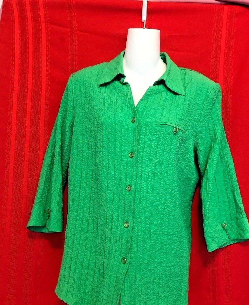c0735d616aee57 Allison Daley Top Green Size 12P Crinkle V Neck 3/4 Sleeve Cuff Button  Pocket Pa #AllisonDaley #Vneck #Career