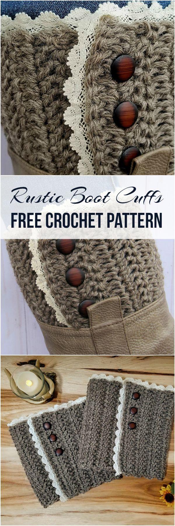 Rustic Boot Cuffs [Free Crochet Pattern] #crochet #crochetpattern ...