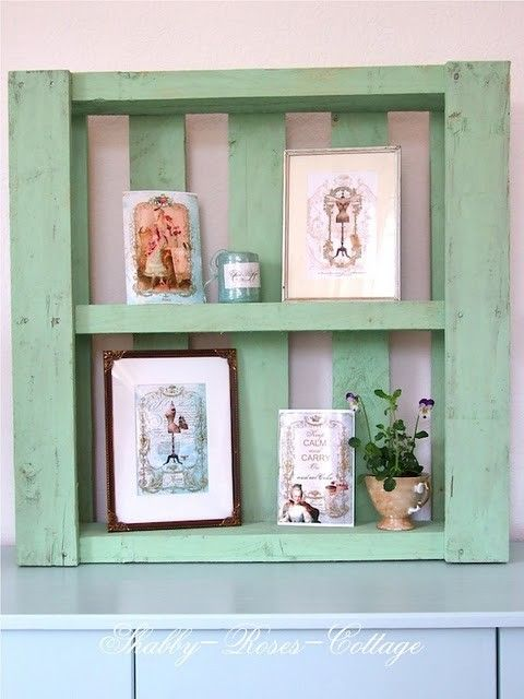 pallet - could use this on a porch to give the old world charm with a set of draws from a thrift shop.  It could also be used in an out door kitchen if you changed the items on display.