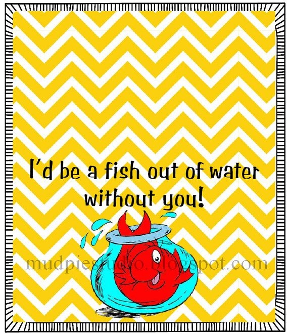 Dr. Seuss Suess Go Fish Tag Topper Label - Digital File - treat idea for class party, birthday, teacher appreciation, etc.