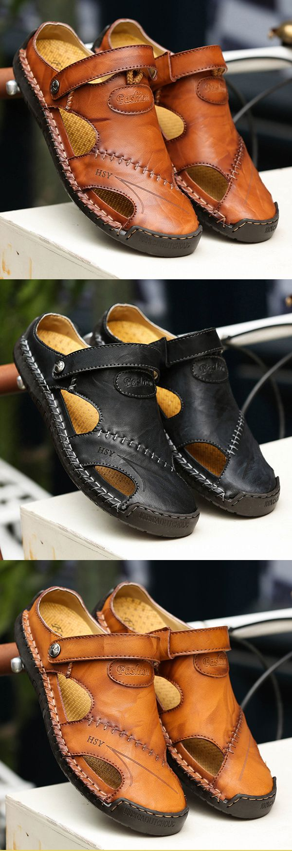 49 OFF Mens Soft Hand shoescasual Stitching Leather Sandals uF3lc5TK1J