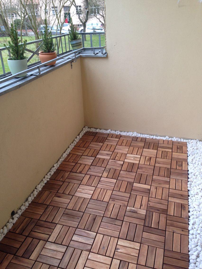 Balkon Holzfliesen Kies RENNEN Bodenrost von IKEA