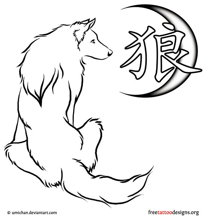 Wolf kanji and moon tats pinterest wolf wolf tattoos and wolf kanji and moon ccuart Images