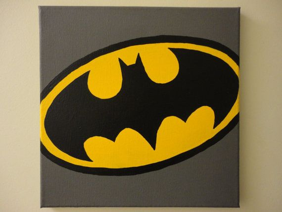 Classic Batman Logo 12x12 Painting Via Etsy Pipers Board