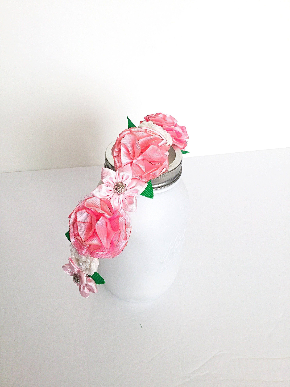 Pink flower head wreath pink flower crown boho wedding crown flower izmirmasajfo Images