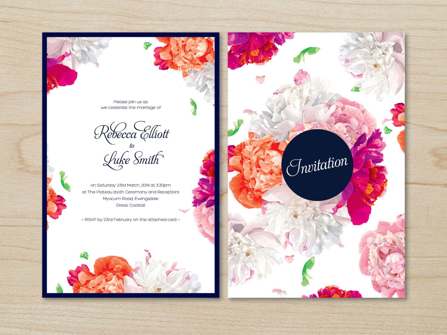 Floral Watercolour Printable Wedding Invitation Suite - Navy, Pink ...