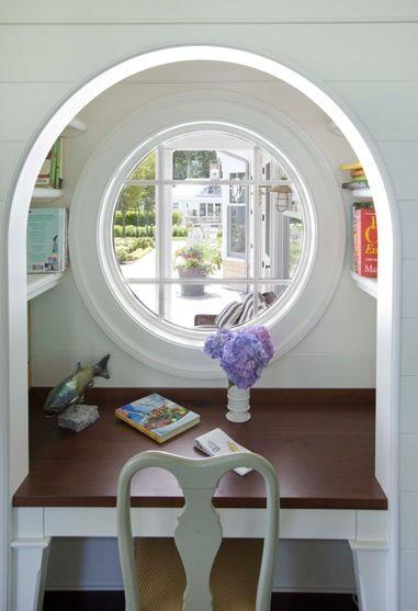 Cool circular window nook.