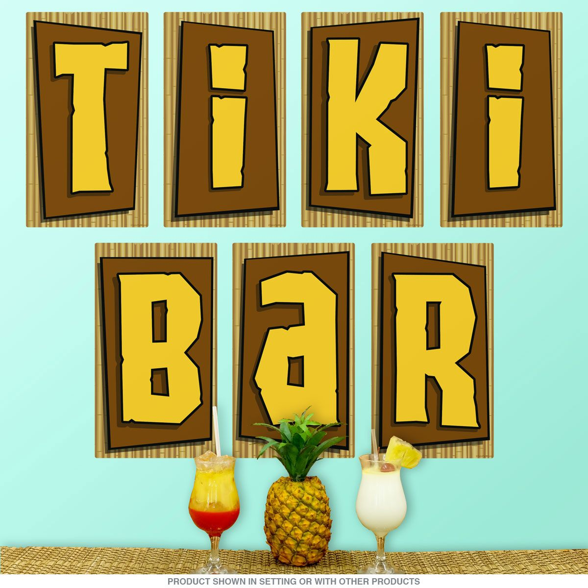 Tiki Bar Letters Tropical Wall Decal Set | Tropical wall decals ...