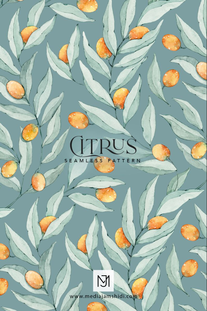 This Citrus seamless pattern is available for purchase in digital format. #patterndesign #textiledesign #surfacedesign