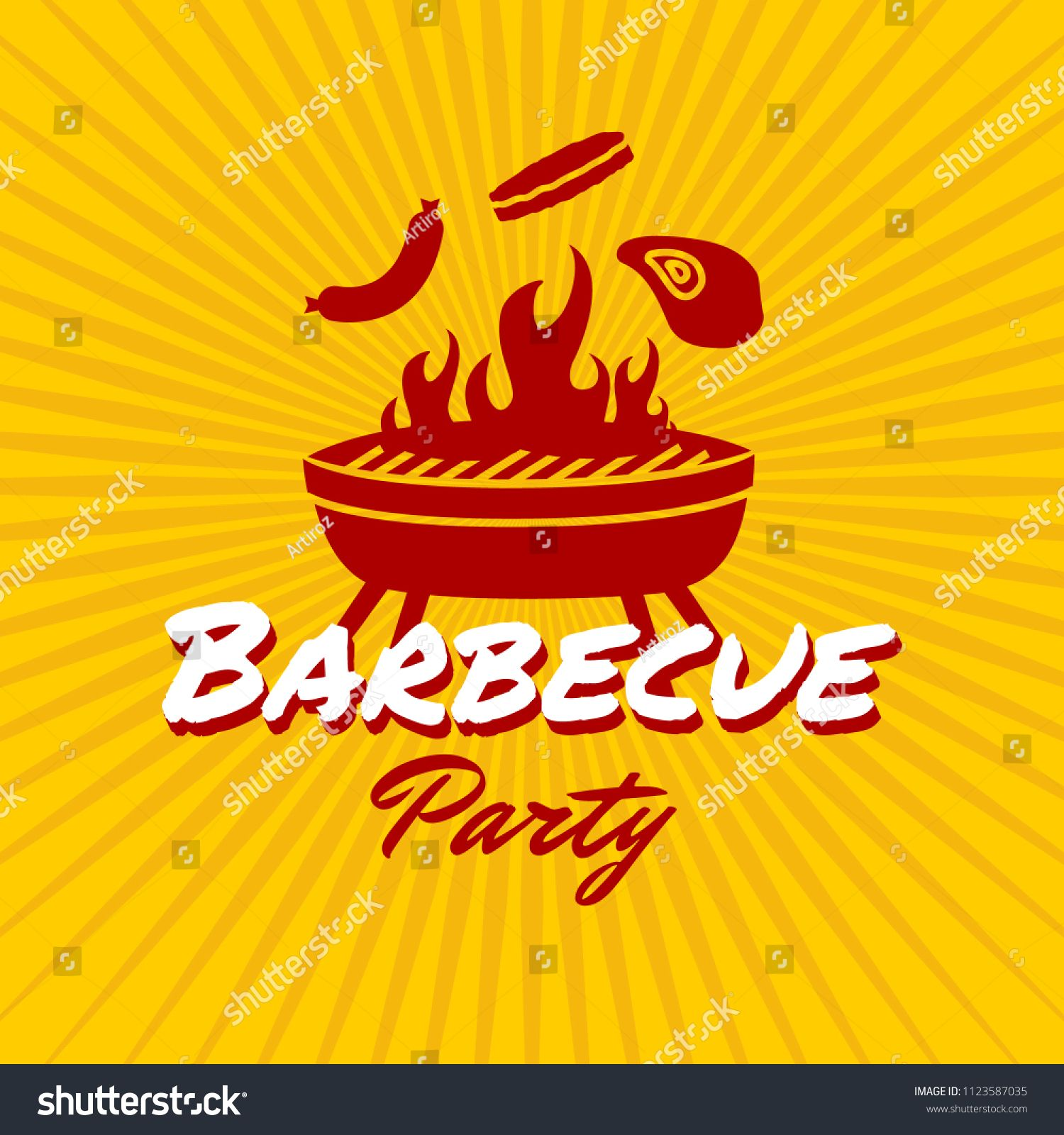 Barbecue party logo template with red maroon and