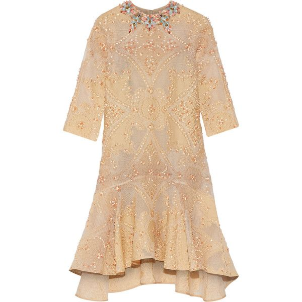 Biyan - Laurie Embellished Cotton-blend Cloqué Dress (31 135 UAH) ❤ liked on Polyvore featuring dresses, beige, embroidery dress, mixed print dress, biyan, print dress and embelished dress