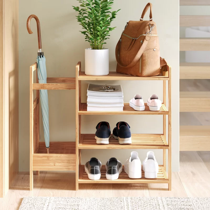 Dotted Line™ Bamboo Entryway 8 Pair Shoe Rack, Bam