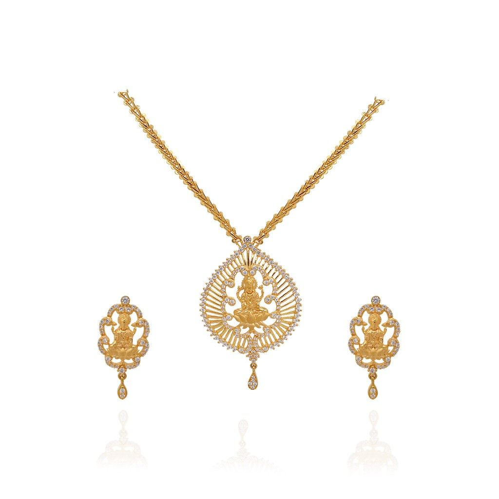 Gold necklace designs in grt jewellers - Light Weight Jewellery 22kt Yellow Lakshmi With Pear Drop Gold Necklace Grt Jewellers