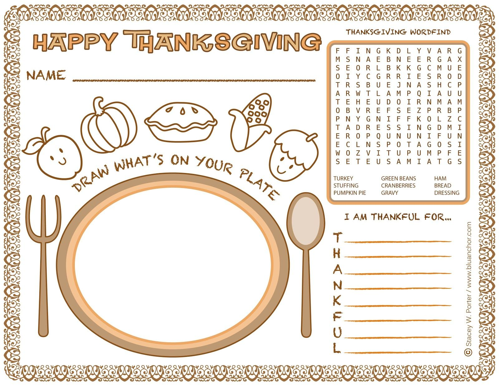 Free Download Printable Place Mat Activity Sheet For The
